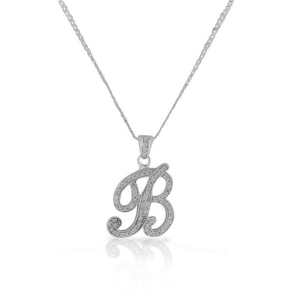 "925 Sterling Silver CZ Letter Initial ""B"" Pendant Necklace - B"