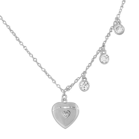 925 Sterling Silver Love Heart CZ Pendant Necklace