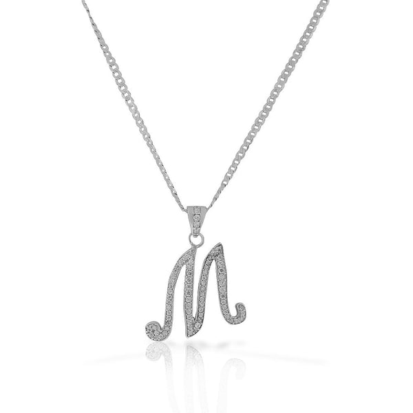 "925 Sterling Silver CZ Letter Initial ""M"" Pendant Necklace - M"