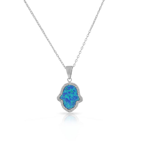 925 Sterling Silver Green Blue Simulated Opal CZ Hamsa Good Luck Pendant Necklace