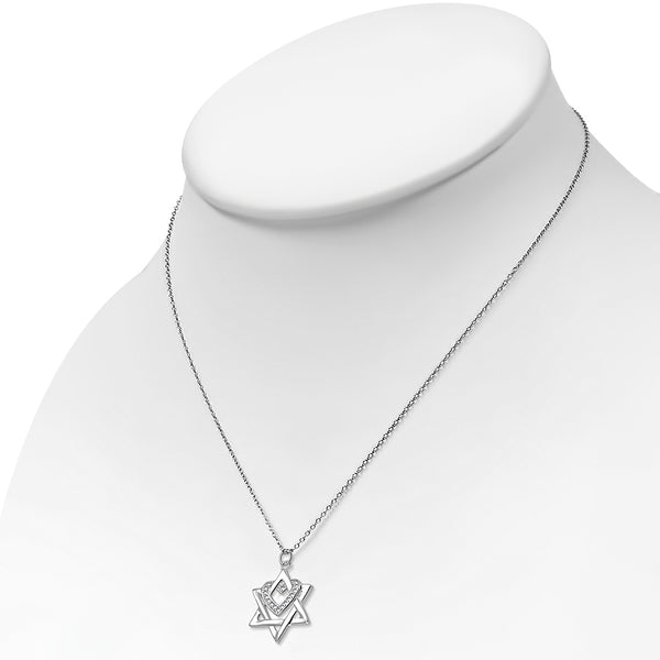 Heart over Star of David Necklace Pendant Sterling Silver