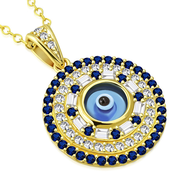 Yellow Gold Evil Eye Round Sterling Silver Necklace Pendant