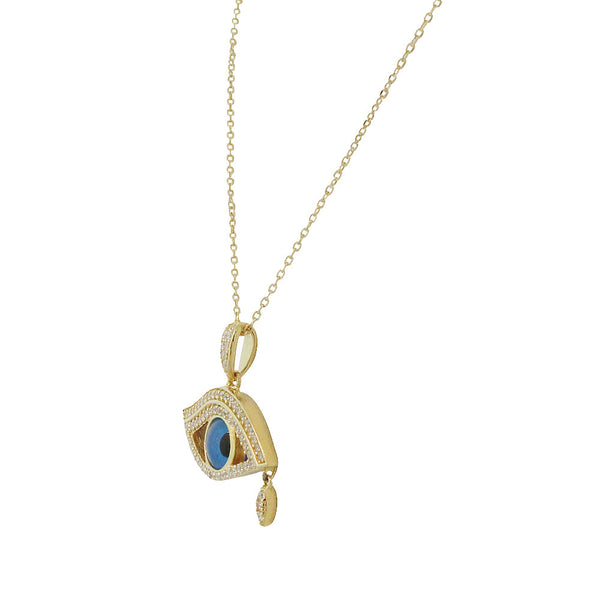 Gold Teardrop Evil Eye Necklace Pendant Sterling Silver