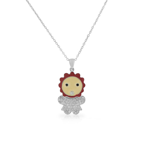 925 Sterling Silver Pink Enamel White Clear CZ Baby Girl Pendant Necklace, 18""
