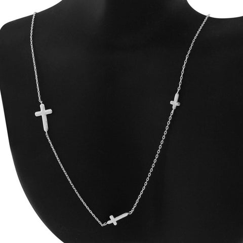925 Sterling Silver Womens Sideways Religious Triple Cross Chain Necklace