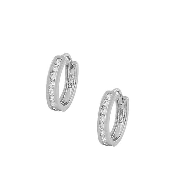 925 Sterling Silver White CZ Small Girls Hoop Huggie Earrings