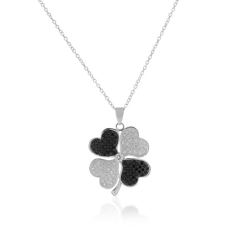 925 Sterling Silver White Clear Black CZ Clover Pendant Necklace, 18""