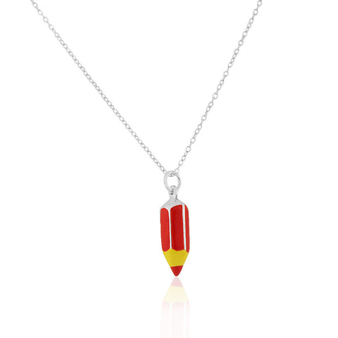 925 Sterling Silver 3D Red Enamel Pencil Crayon Charm Small Pendant Necklace, 18""