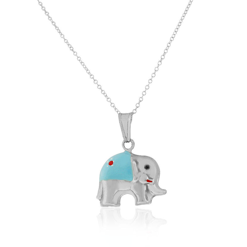 925 Sterling Silver 3D Blue White Enamel Elephant Charm Pendant Necklace, 18""