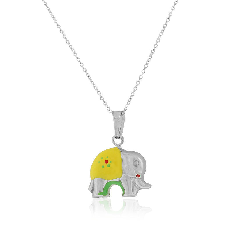 925 Sterling Silver 3D Yellow Green Enamel Elephant Charm Pendant Necklace, 18""