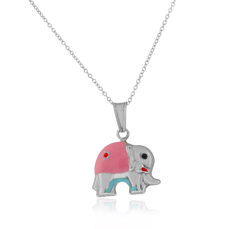 925 Sterling Silver 3D Pink Blue Enamel Elephant Charm Pendant Necklace, 18""