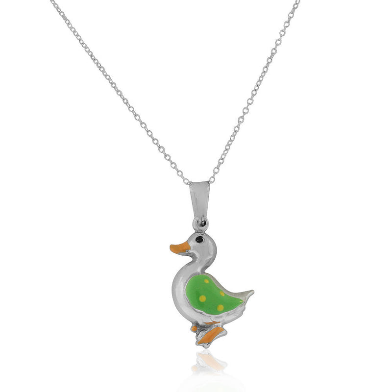 925 Sterling Silver 3D Green Enamel Duck Charm Pendant Necklace, 18""