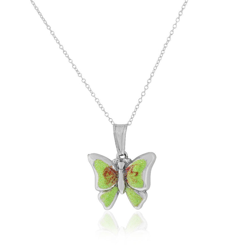 925 Sterling Silver 3D Green Enamel Glitter Butterfly Charm Pendant Necklace, 18""