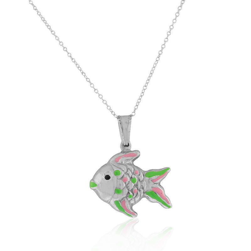925 Sterling Silver 3D Pink Green Enamel Fish Charm Pendant Necklace, 18""