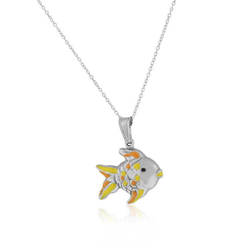 925 Sterling Silver 3D Orange Yellow Enamel Fish Charm Pendant Necklace, 18""
