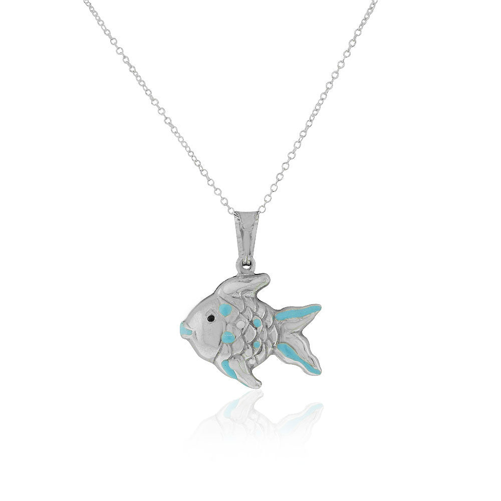 925 Sterling Silver 3D Blue White Enamel Fish Charm Pendant Necklace, 18""