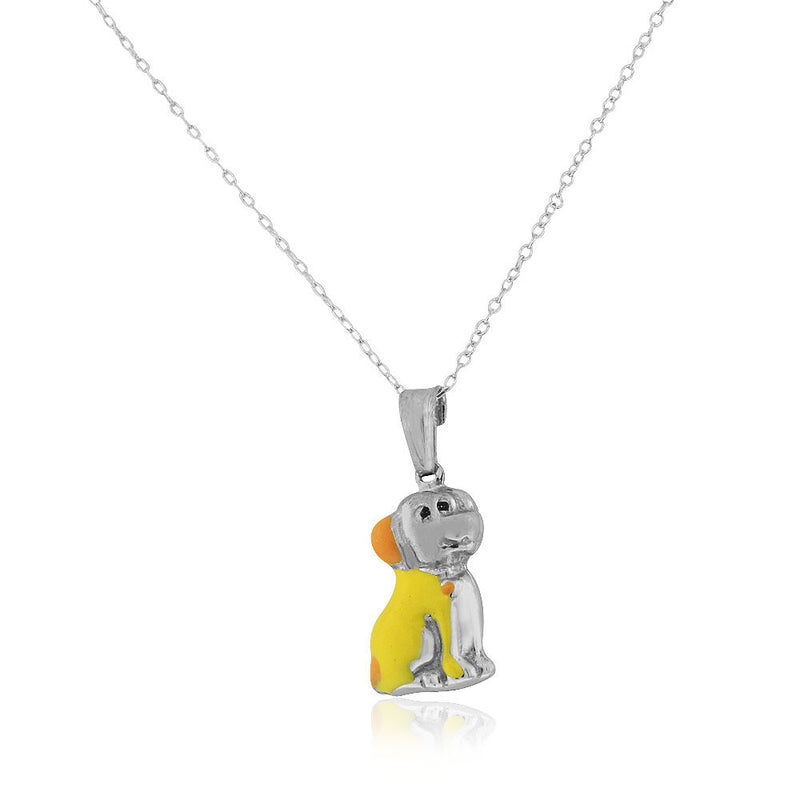 925 Sterling Silver 3D Yellow Orange Enamel Dog Puppy Charm Pendant Necklace, 18""