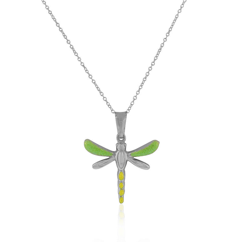 925 Sterling Silver 3D Yellow Green Enamel Glitter Dragonfly Charm Pendant Necklace, 18""