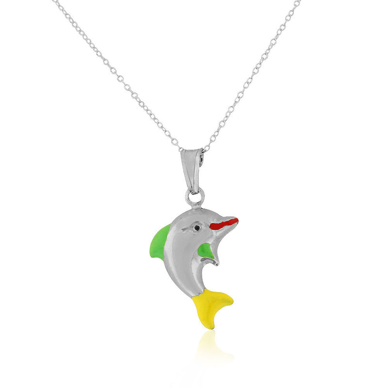 925 Sterling Silver 3D Green Yellow Enamel Dolphin Charm Pendant Necklace, 18""