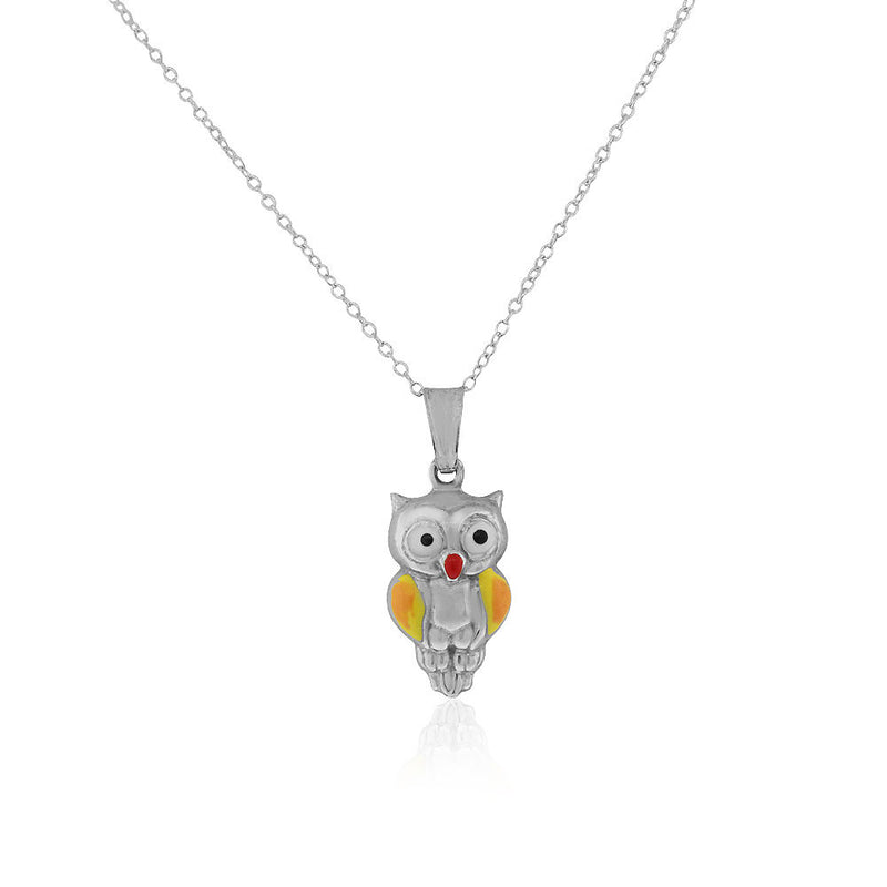 925 Sterling Silver 3D Orange Yellow Enamel Owl Charm Pendant Necklace, 18""