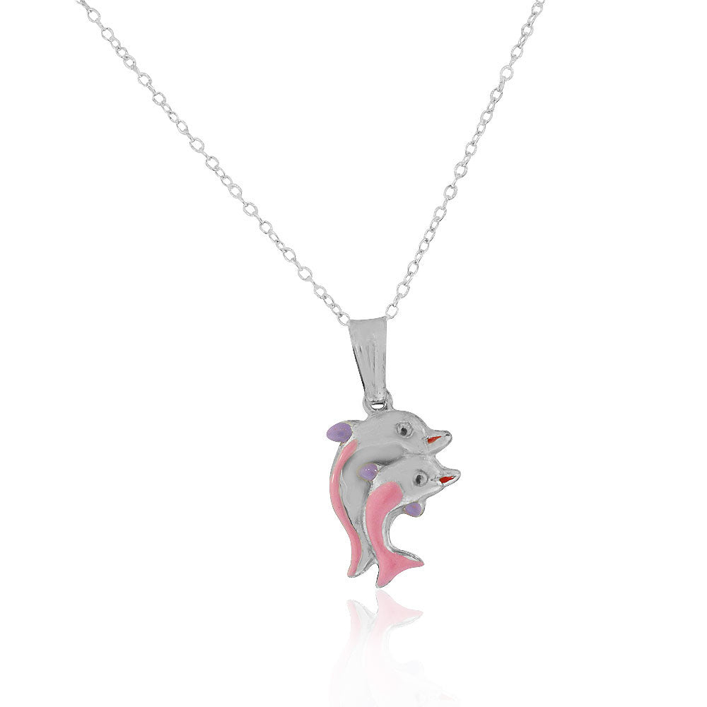 925 Sterling Silver 3D Pink Purple Enamel Two Dolphins Couple Charm Pendant Necklace, 18""