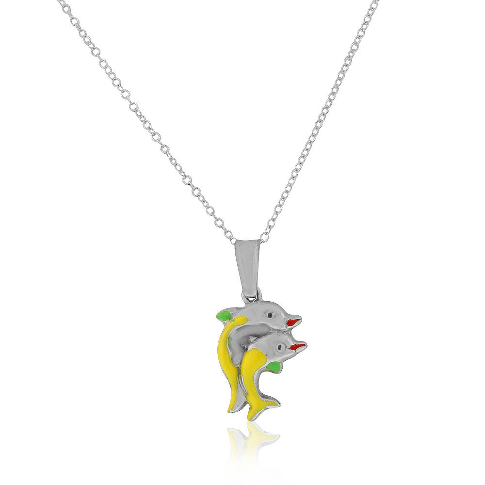 925 Sterling Silver 3D Green Yellow Enamel Two Dolphins Couple Charm Pendant Necklace, 18""