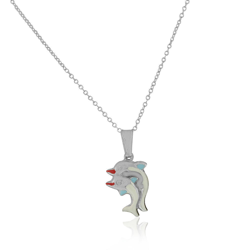 925 Sterling Silver 3D White Blue Enamel Two Dolphins Couple Charm Pendant Necklace, 18""