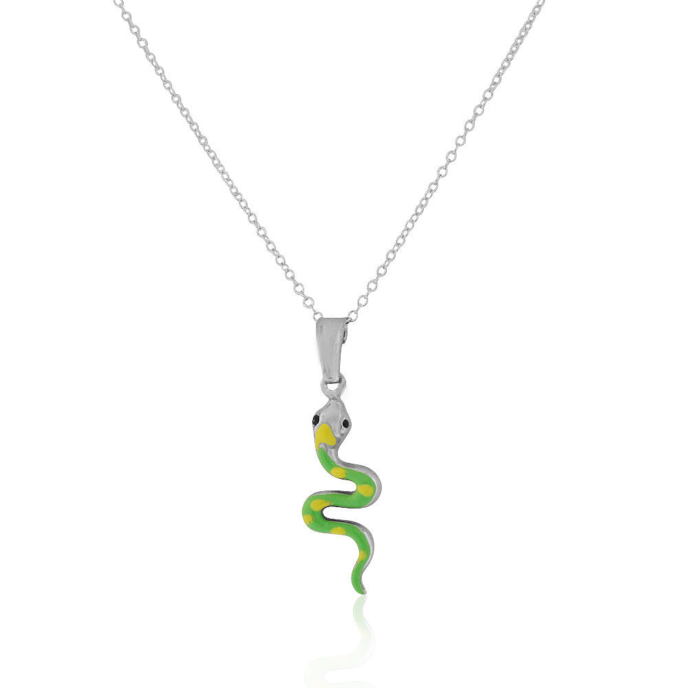 925 Sterling Silver 3D Yellow Green Enamel Snake Charm Pendant Necklace, 18""
