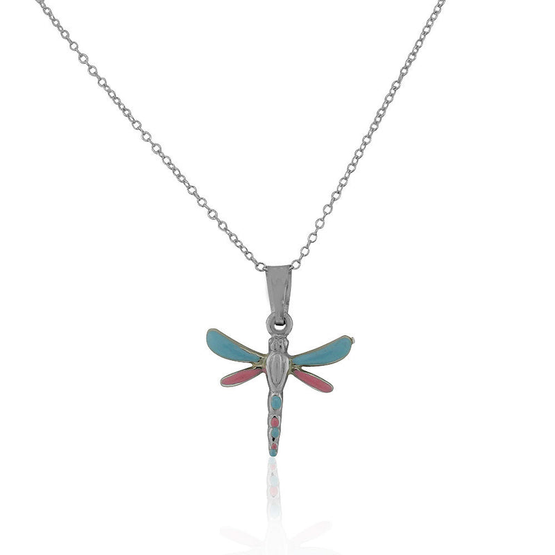 925 Sterling Silver 3D Blue Pink Enamel Dragonfly Charm Pendant Necklace, 18""