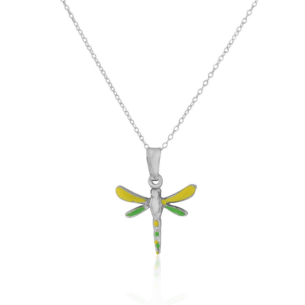 925 Sterling Silver 3D Yellow Green Enamel Dragonfly Charm Pendant Necklace, 18""