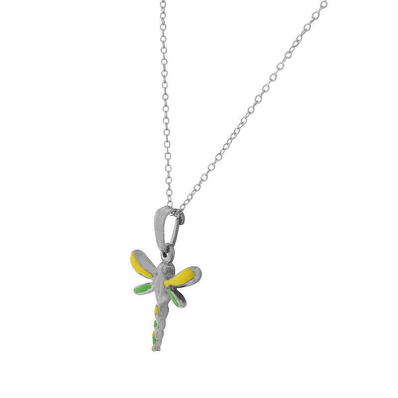 Colorful Dragonfly Sterling Silver Pendant Necklace