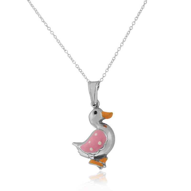 925 Sterling Silver 3D Pink Enamel Duck Charm Pendant Necklace, 18""