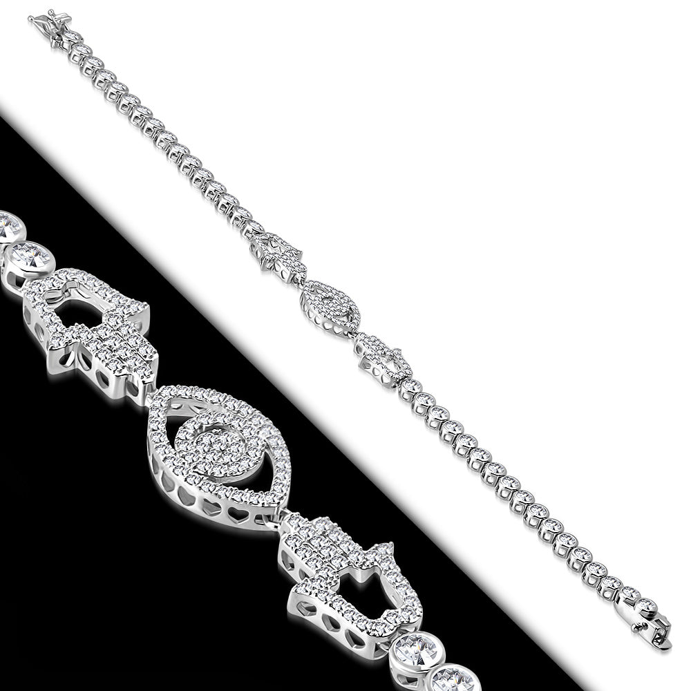 White Bezel-Set CZ Hamsa Evil Eye Protection Tennis Bracelet