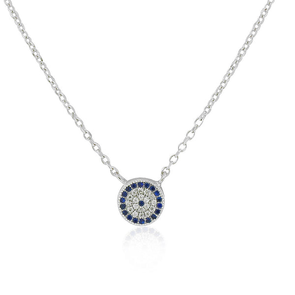 925 Sterling Silver White Blue CZ Round Evil Eye Protection Pendant Necklace, 18""
