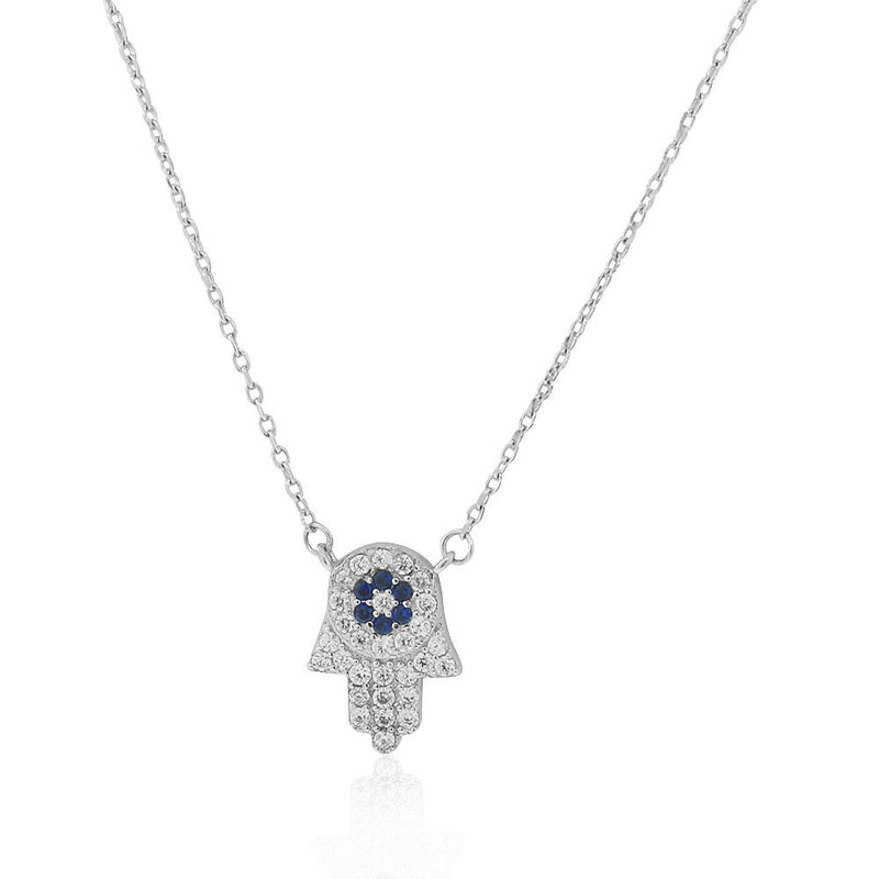 925 Sterling Silver White Blue CZ Hamsa Good Luck Pendant Necklace, 18""