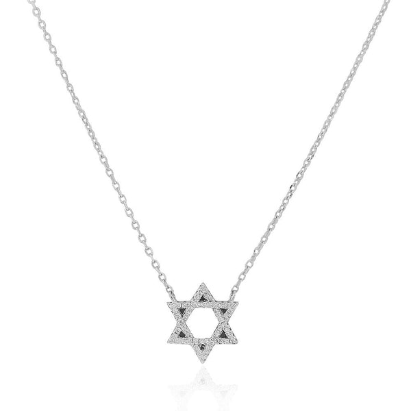 925 Sterling Silver Classic Star of David White Clear CZ Pendant Necklace, 18""