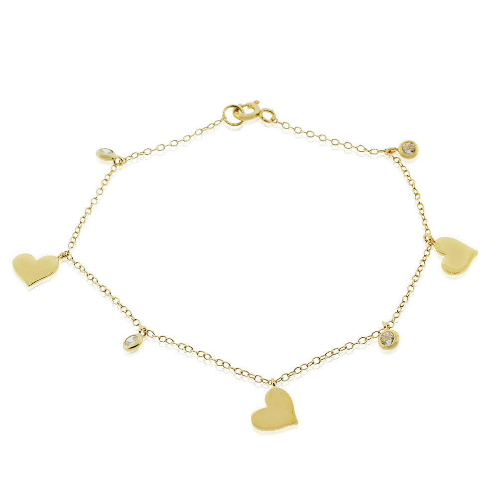 925 Sterling Silver Yellow Gold-Tone Love Heart White CZ Chain Bracelet, 7""