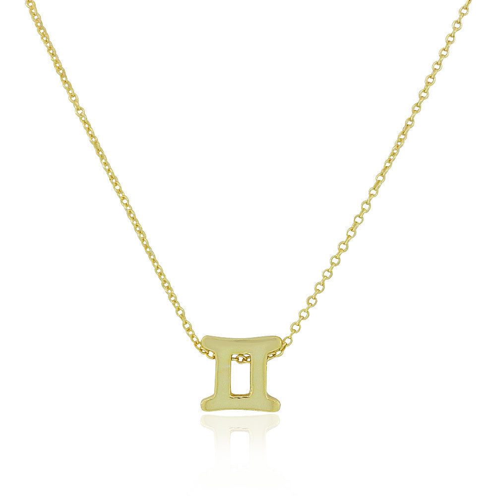 "925 Sterling Silver Yellow Gold-Tone Small Zodiac Sign Pendant Necklace, 18"" - Gemini"