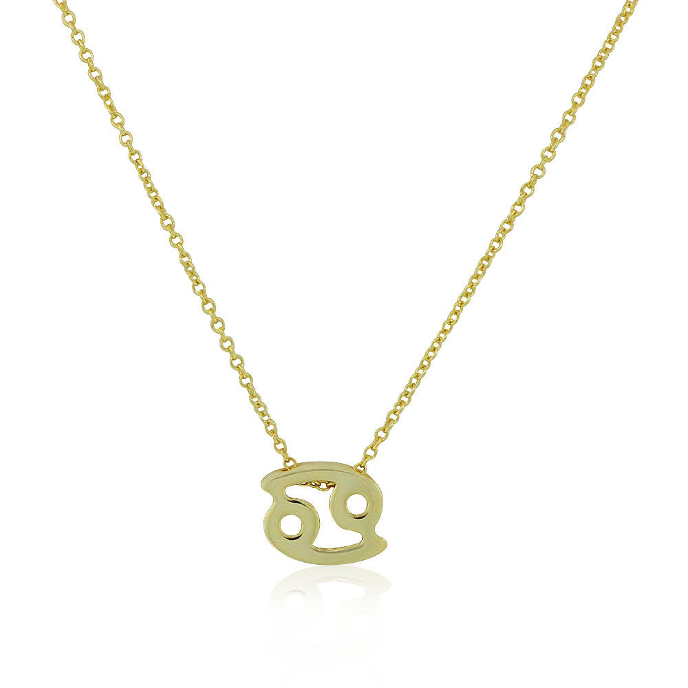 "925 Sterling Silver Yellow Gold-Tone Small Zodiac Sign Pendant Necklace, 18"" - Cancer"