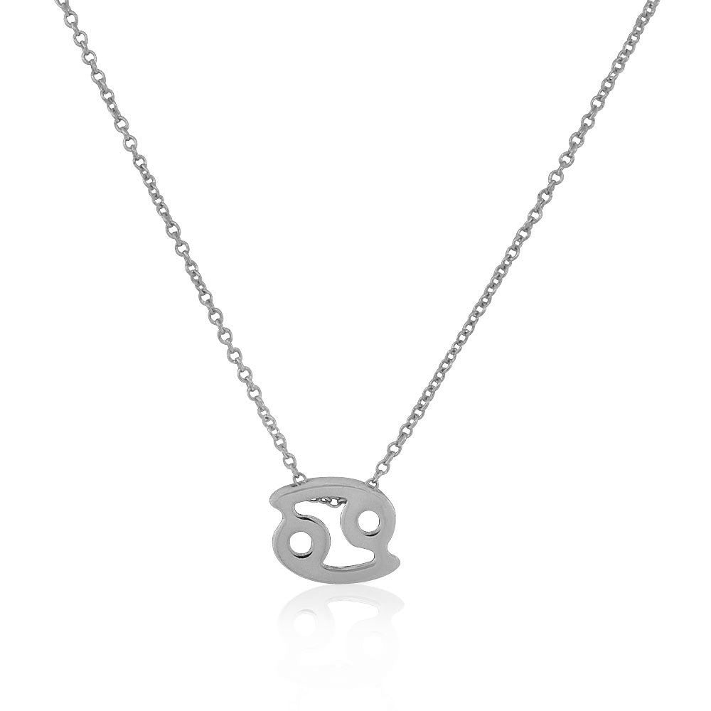 "925 Sterling Silver Small Zodiac Sign Pendant Necklace, 18"" - Cancer"