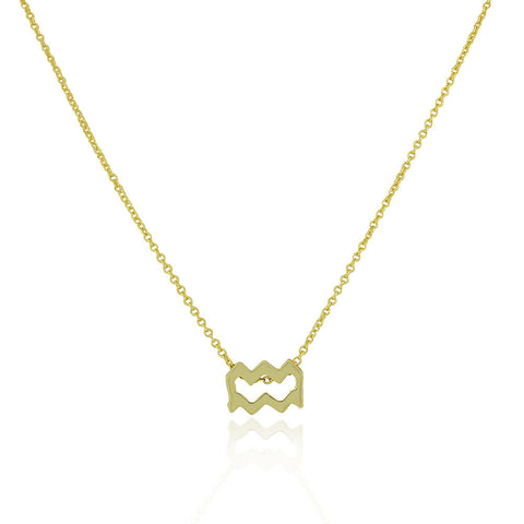 "925 Sterling Silver Yellow Gold-Tone Small Zodiac Sign Pendant Necklace, 18"" - Aquarius"