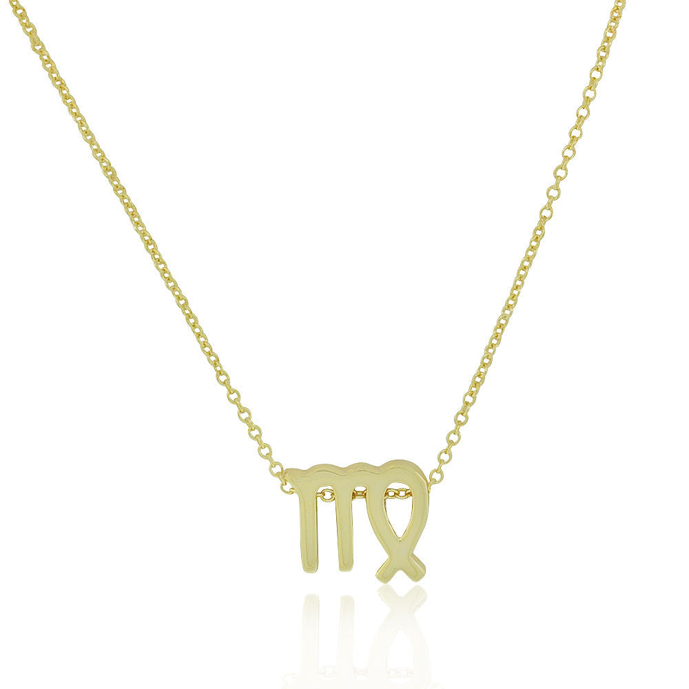 "925 Sterling Silver Yellow Gold-Tone Small Zodiac Sign Pendant Necklace, 18"" - Virgo"