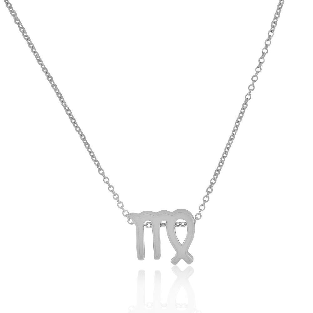 "925 Sterling Silver Small Zodiac Sign Pendant Necklace, 18"" - Virgo"