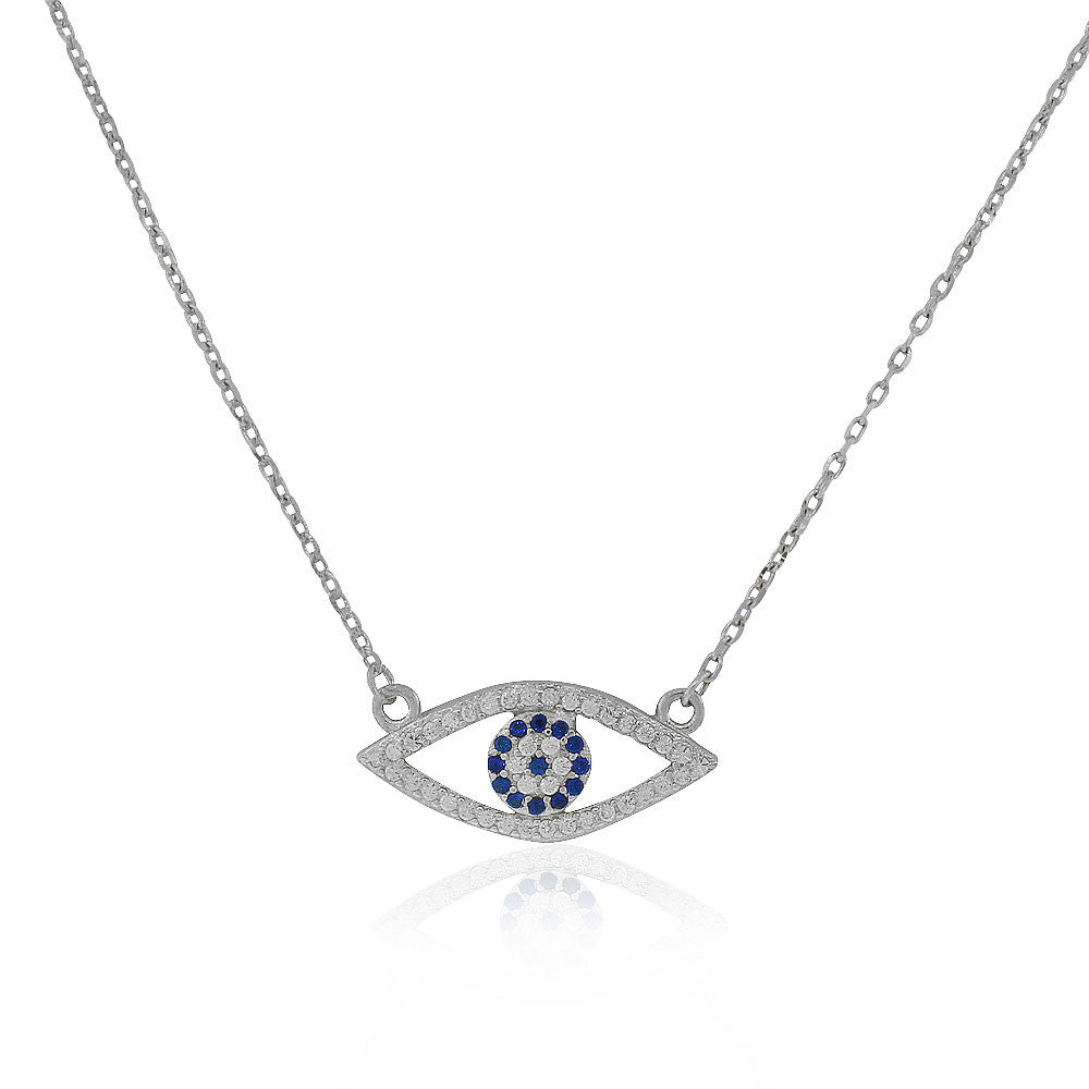 925 Sterling Silver Evil Eye Protection White Blue CZ Pendant Necklace, 18""
