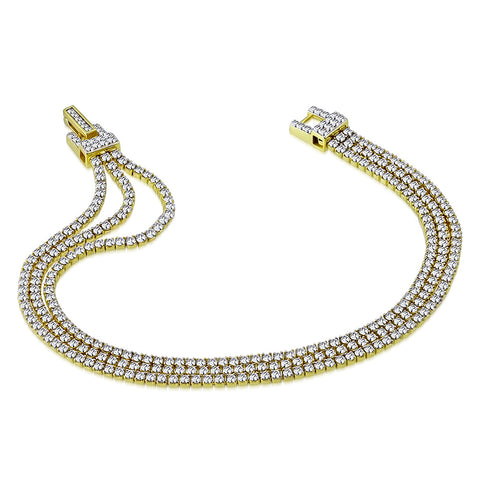 925 Sterling Silver Yellow Gold-Tone Clear CZ Triple Strand Tennis Bracelet, 6.5""