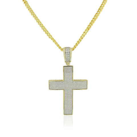 925 Sterling Silver Yellow Gold-Tone Clear CZ Large Hip-Hop Statement Cross Pendant Necklace, 30""
