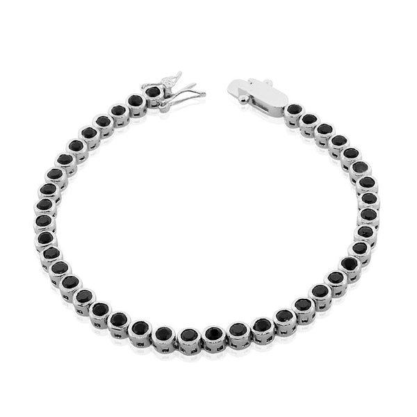 925 Sterling Silver Black Bezel-Set CZ Tennis Bracelet, 7""
