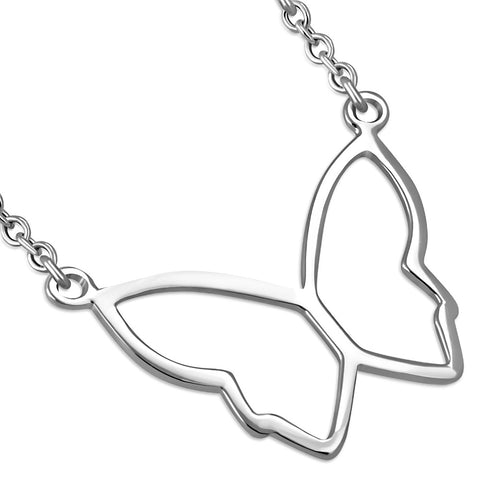 925 Sterling Silver Butterfly Charm Pendant Necklace, 18""