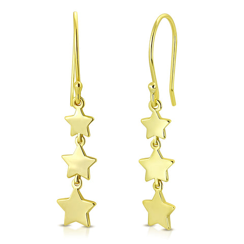 925 Sterling Silver Yellow Gold-Tone Three Stars Drop Dangle Earrings, 1.3""