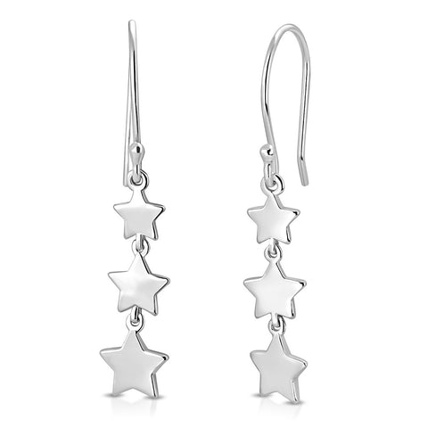925 Sterling Silver Three Stars Drop Dangle Earrings, 1.3""